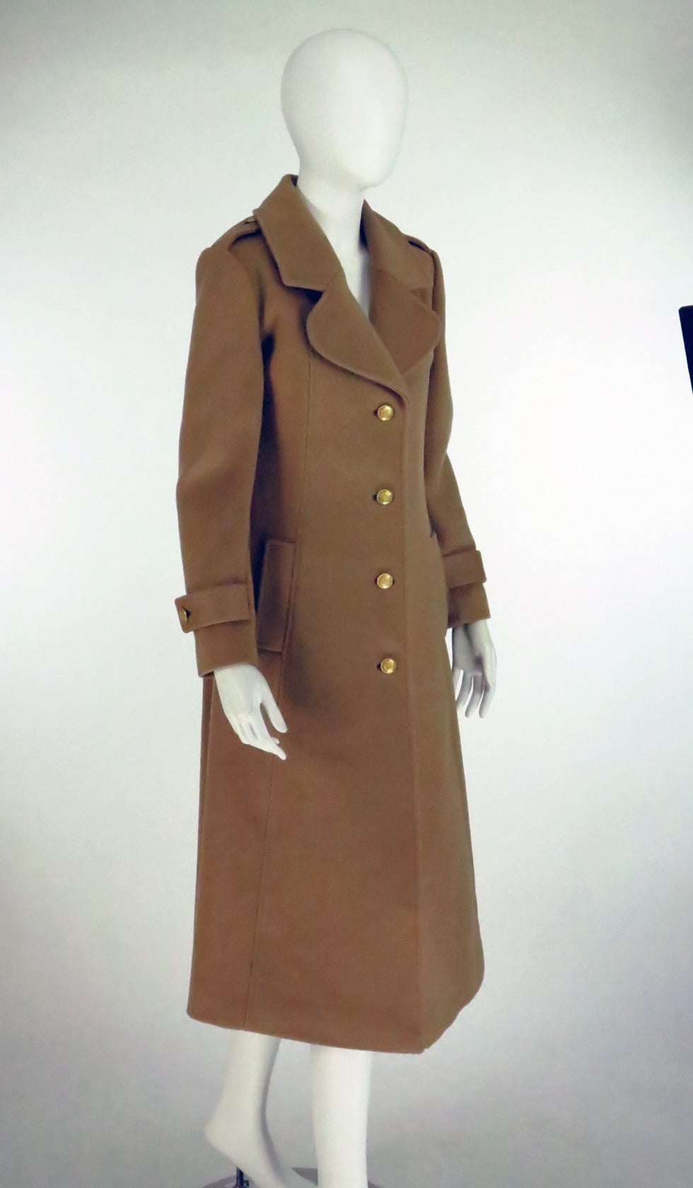 1960s Adolfo camel tan double face wool military style coat 9