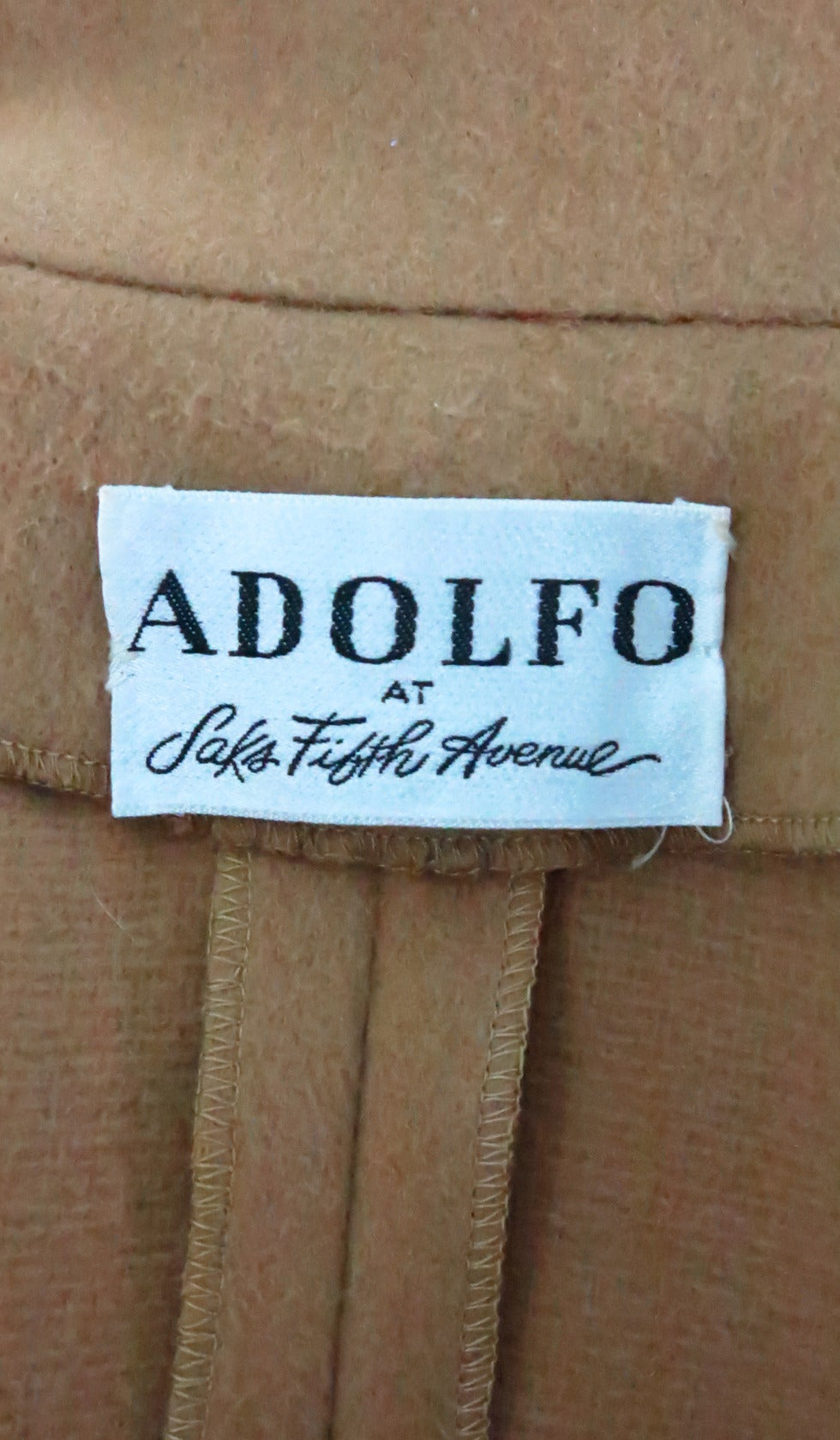 1960s Adolfo camel tan double face wool military style coat 10