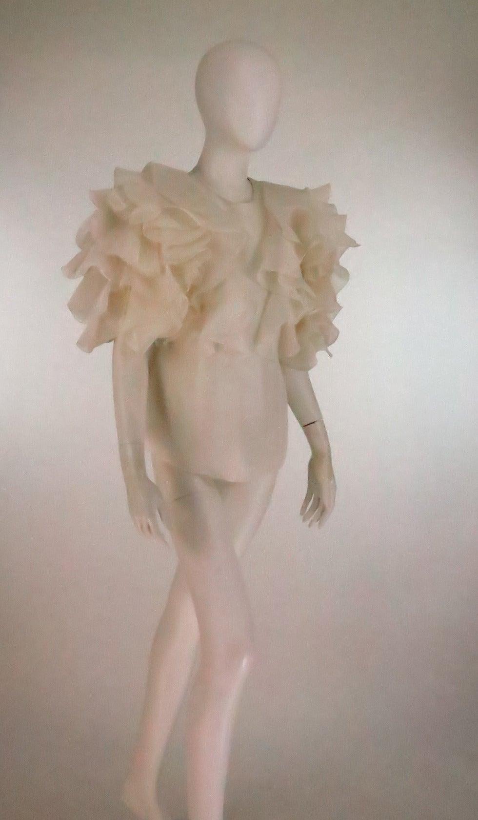 1990s Oscar de la Renta ivory organza ruffle sleeve blouse 2
