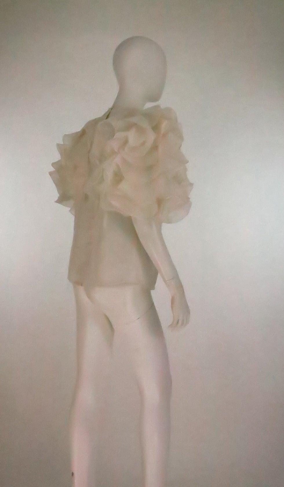 1990s Oscar de la Renta ivory organza ruffle sleeve blouse 4