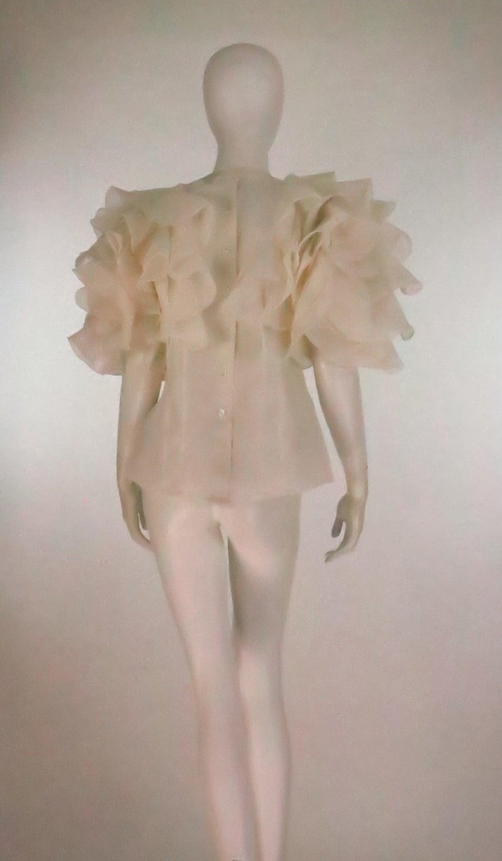1990s Oscar de la Renta ivory organza ruffle sleeve blouse 5