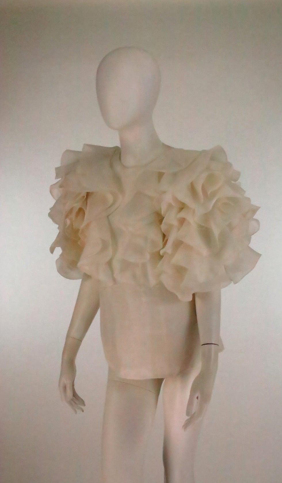 1990s Oscar de la Renta ivory organza ruffle sleeve blouse 8
