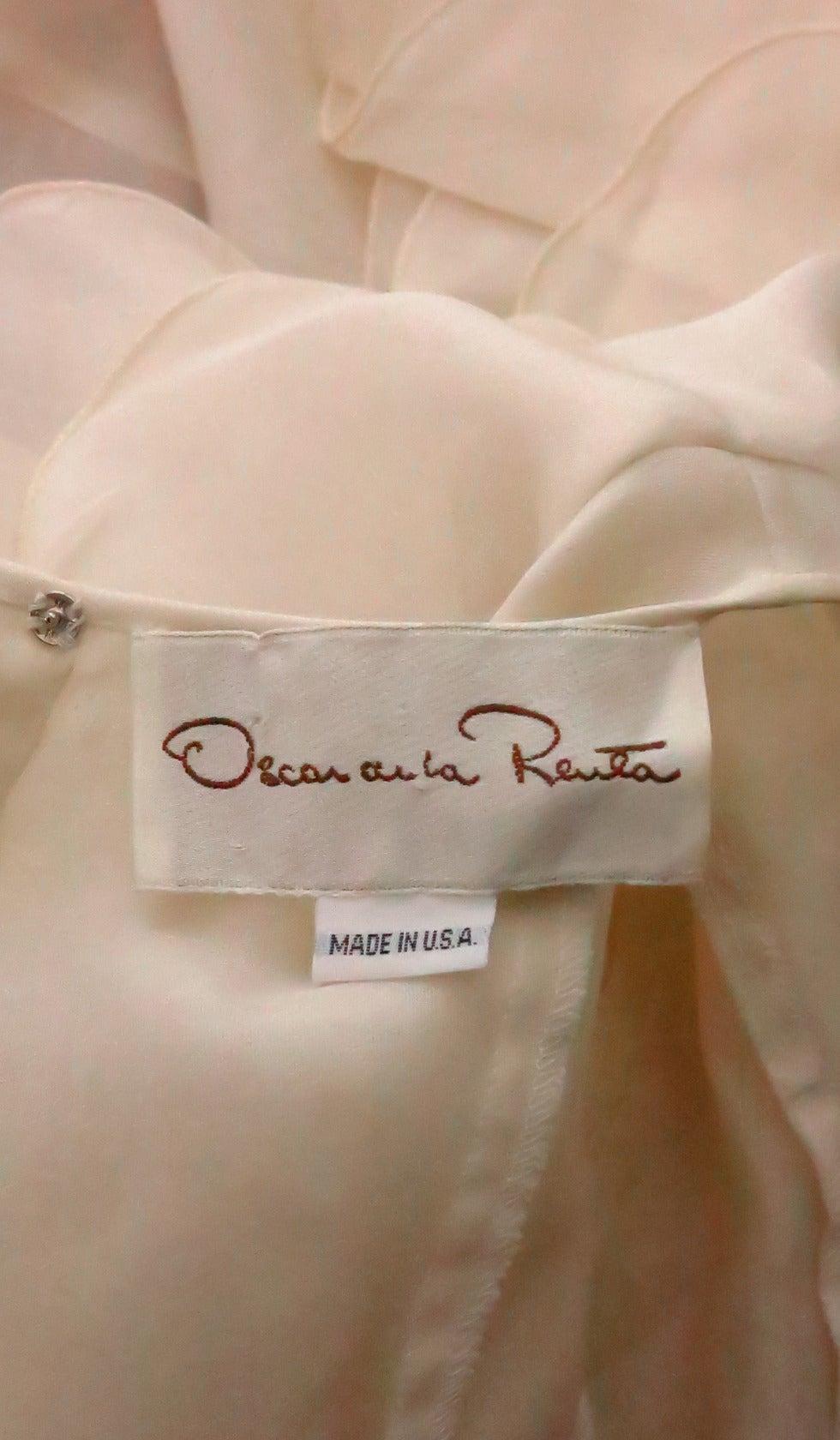 1990s Oscar de la Renta ivory organza ruffle sleeve blouse 9