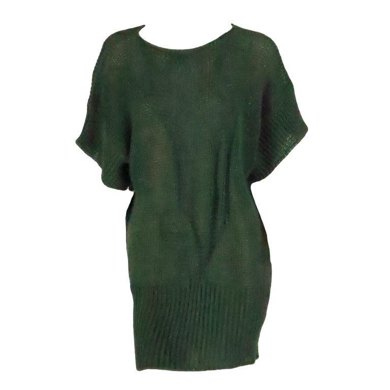 1980s Jil Sander pine green sweater knit tunic For Sale