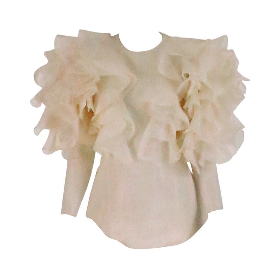 1990s Oscar de la Renta ivory organza ruffle sleeve blouse 1