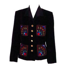 1990 Escada Couture jewel embroidered velvet evening jacket