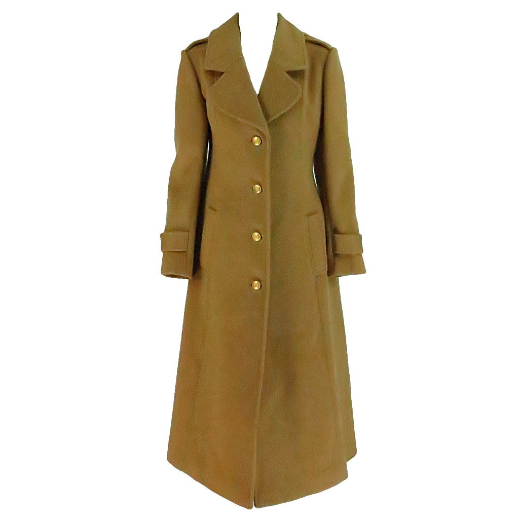 1960s Adolfo camel tan double face wool military style coat 1