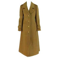 1960s Adolfo camel tan double face wool military style coat
