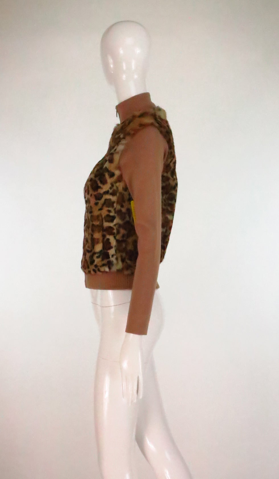 Brown 1990s Lloyd Klein Paris stenciled leopard fur sweater For Sale