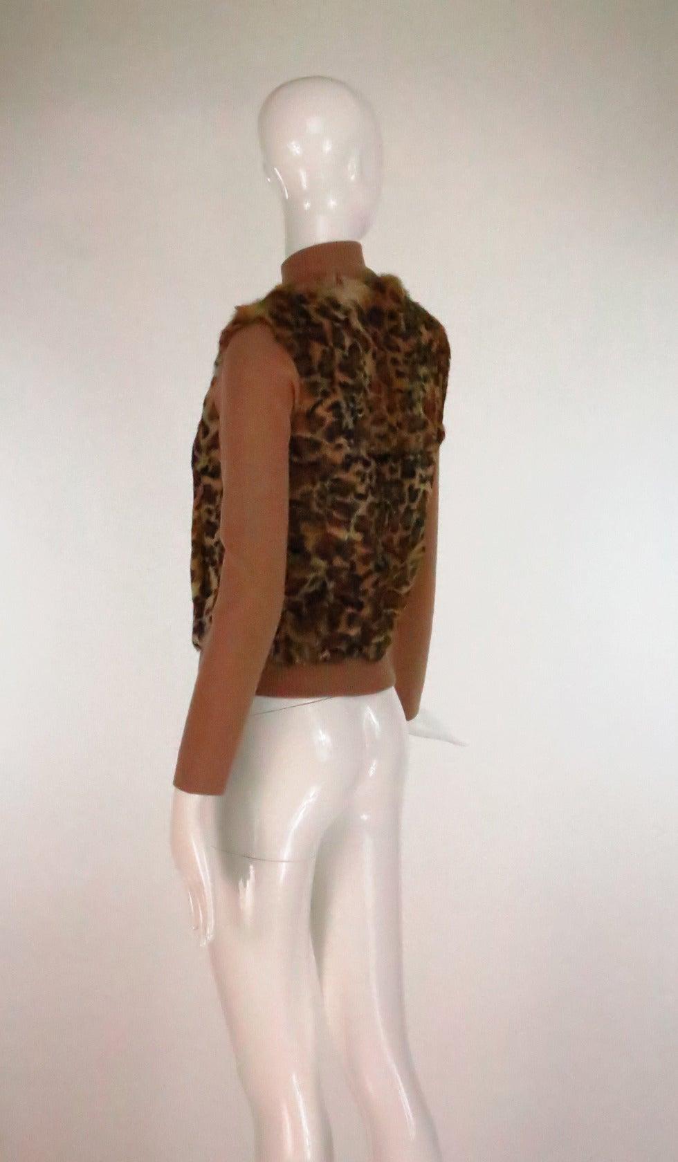 1990s Lloyd Klein Paris stenciled leopard fur sweater In Excellent Condition For Sale In West Palm Beach, FL