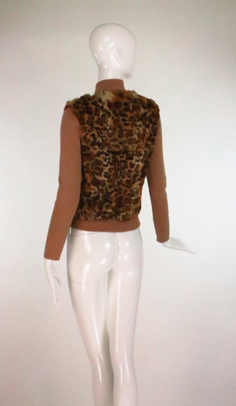Women's 1990s Lloyd Klein Paris stenciled leopard fur sweater For Sale