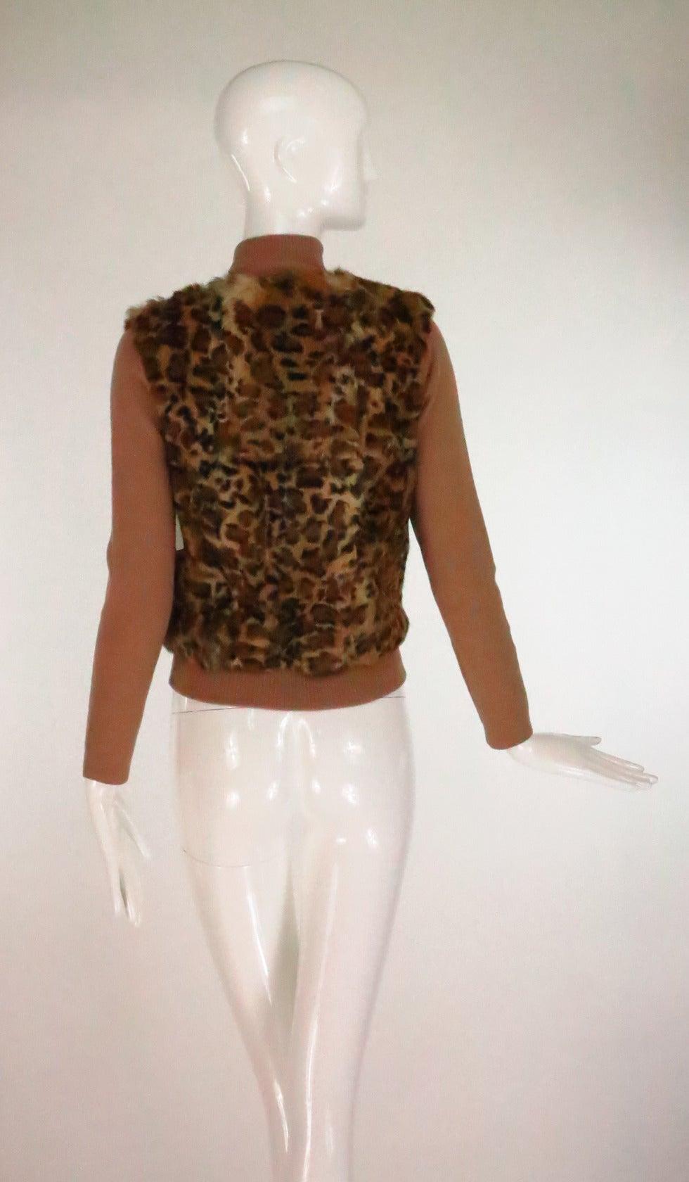 1990s Lloyd Klein Paris stenciled leopard fur sweater For Sale 1