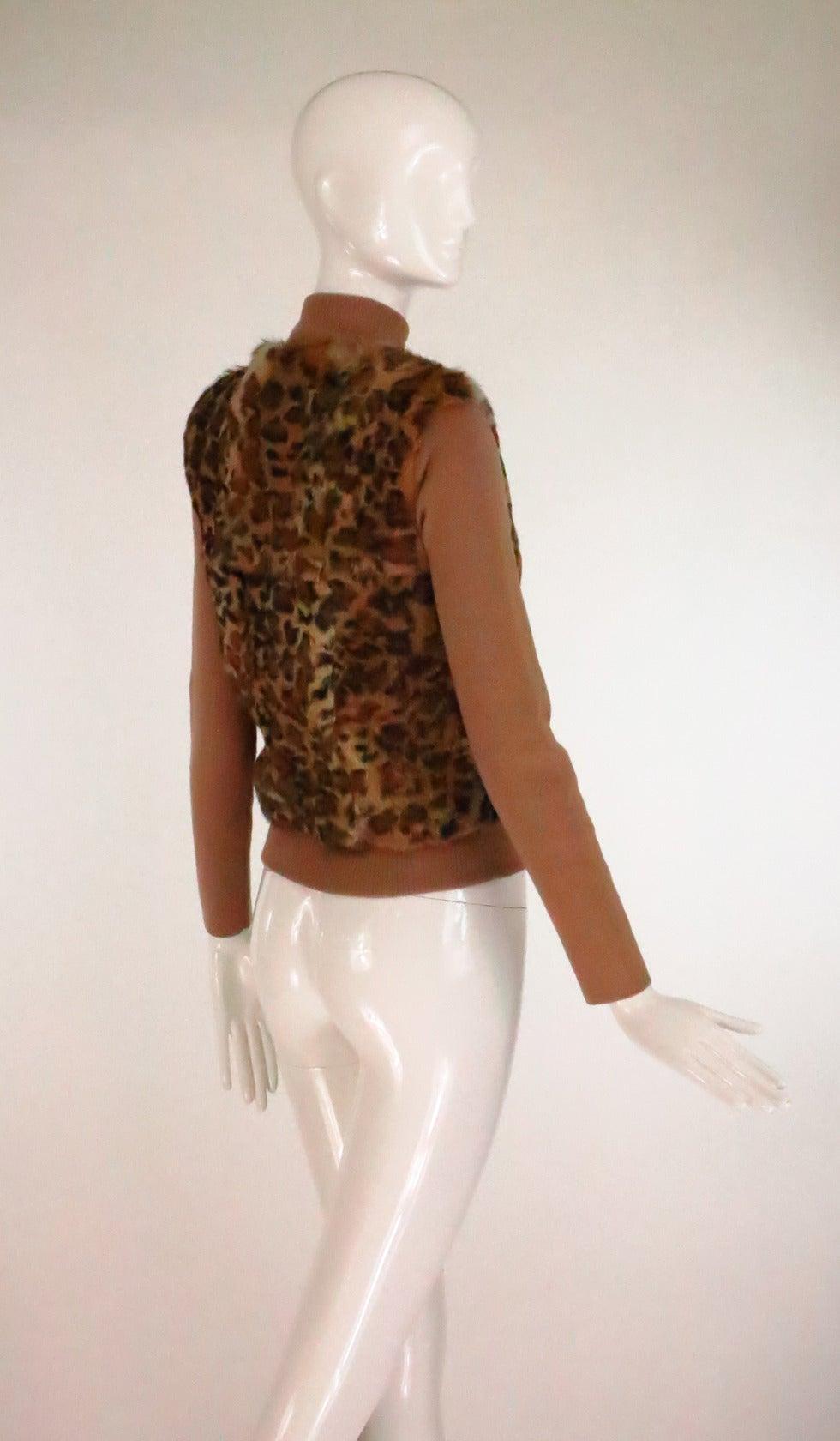 1990s Lloyd Klein Paris stenciled leopard fur sweater For Sale 2