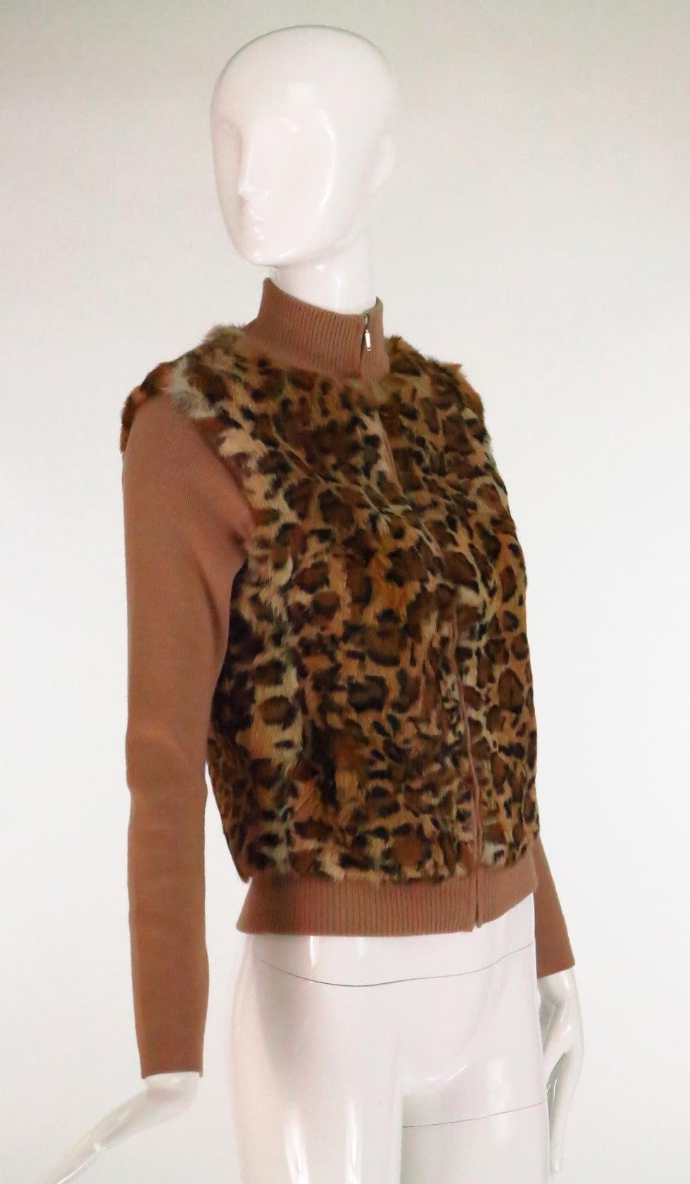 1990s Lloyd Klein Paris stenciled leopard fur sweater For Sale 3