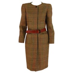 Oscar de la Renta wool plaid 4 pocket coat dress