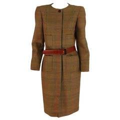 Oscar de la Renta wool plaid 4 pocket coat dress