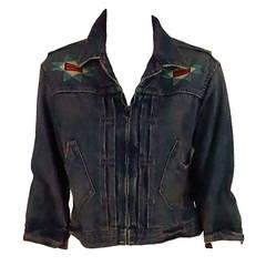 Ralph Lauren Doublle RL beaded distressed denim jacket
