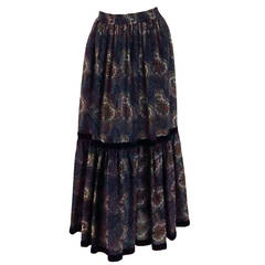 Iconic 1970s Yves St Laurent YSL paisley challis tiered peasant skirt