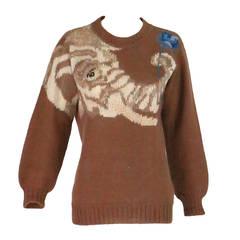 1980s Krizia Maglia Gentle Elephant with flower knit sweater