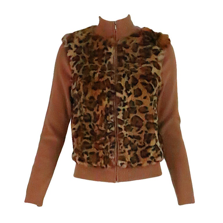 1990s Lloyd Klein Paris stenciled leopard fur sweater For Sale