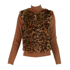 1990s Lloyd Klein Paris stenciled leopard fur sweater