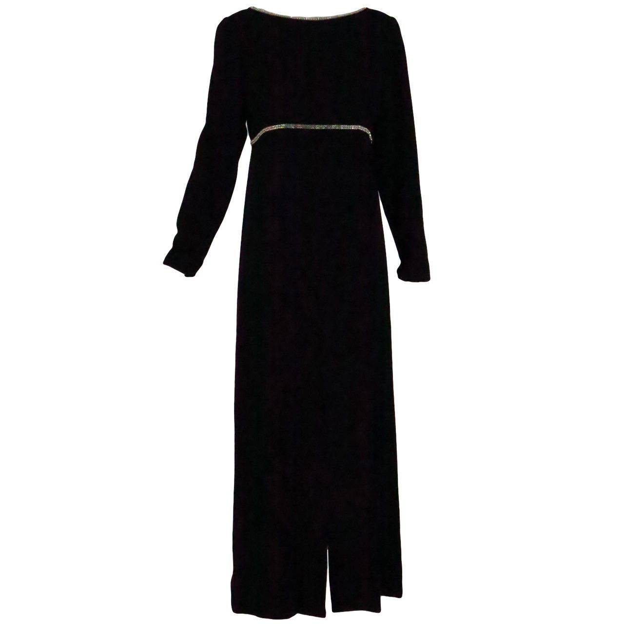 1960s Mollie Parnis wool crepe gown with sequin trim