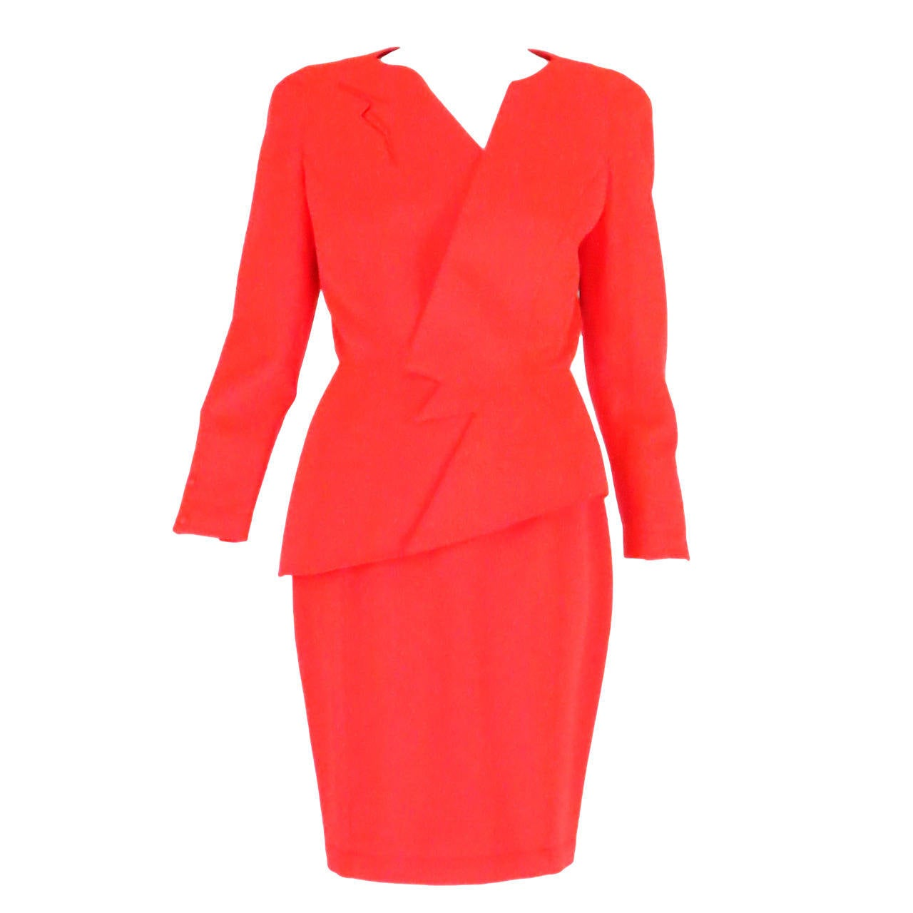 1980s Thierry Mugler bright orange futurist wool gabardine suit