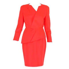 1980s Thierry Mugler bright orange futurist wool gabardine suit