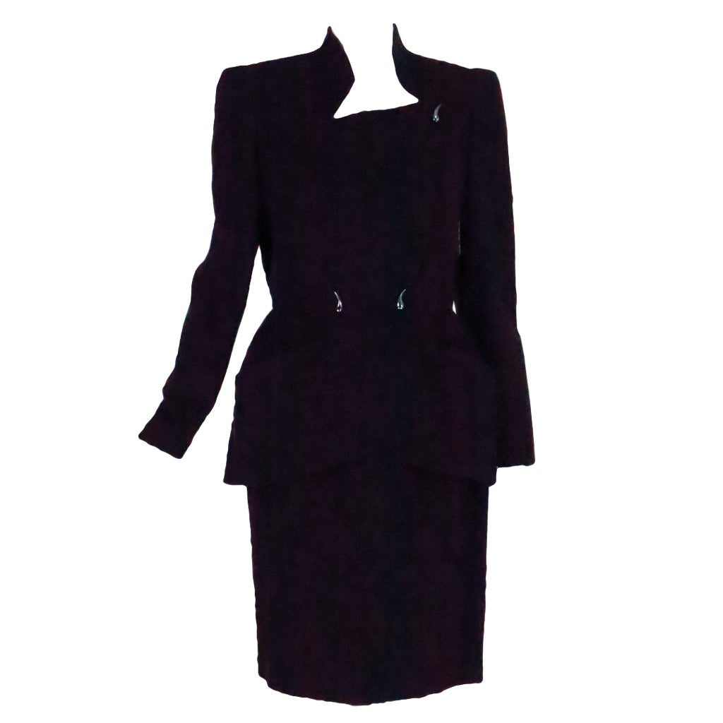 1980s Thierry Mugler dark brown wool gabardine nipped waist peplum skirt suit