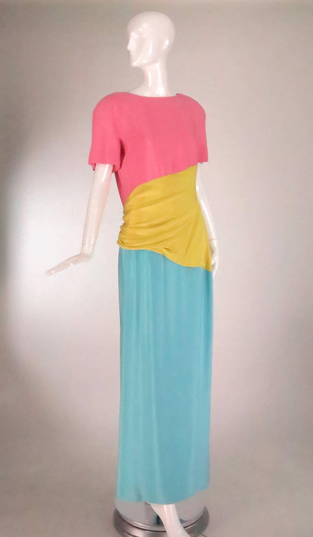 1980s Scaasi 40s inspired colour block gown 2