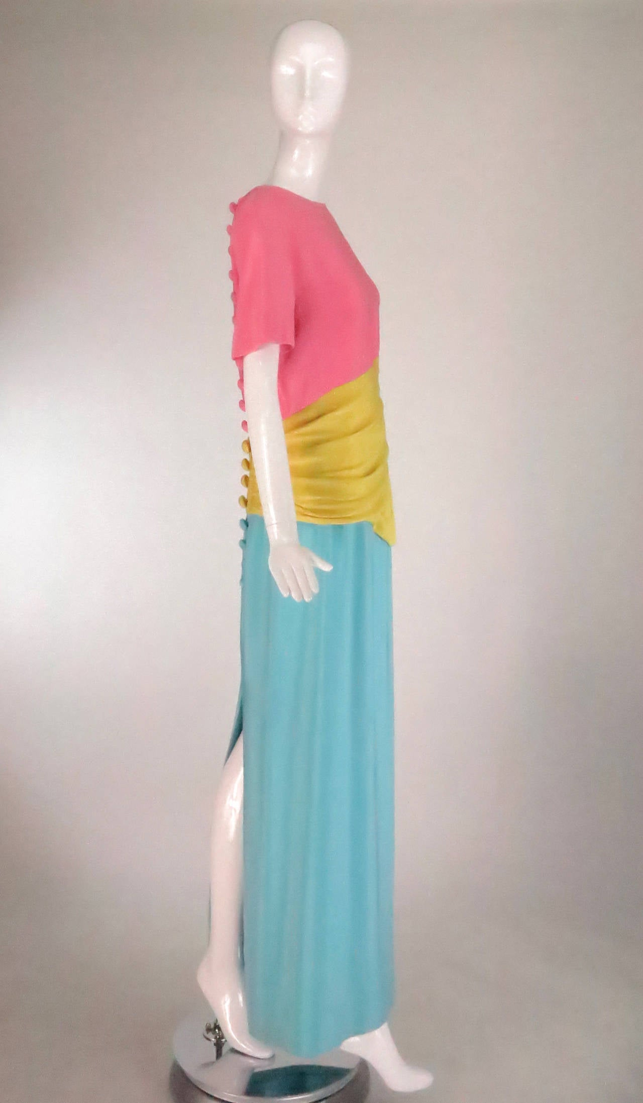 1980s Scaasi 40s inspired colour block gown 3
