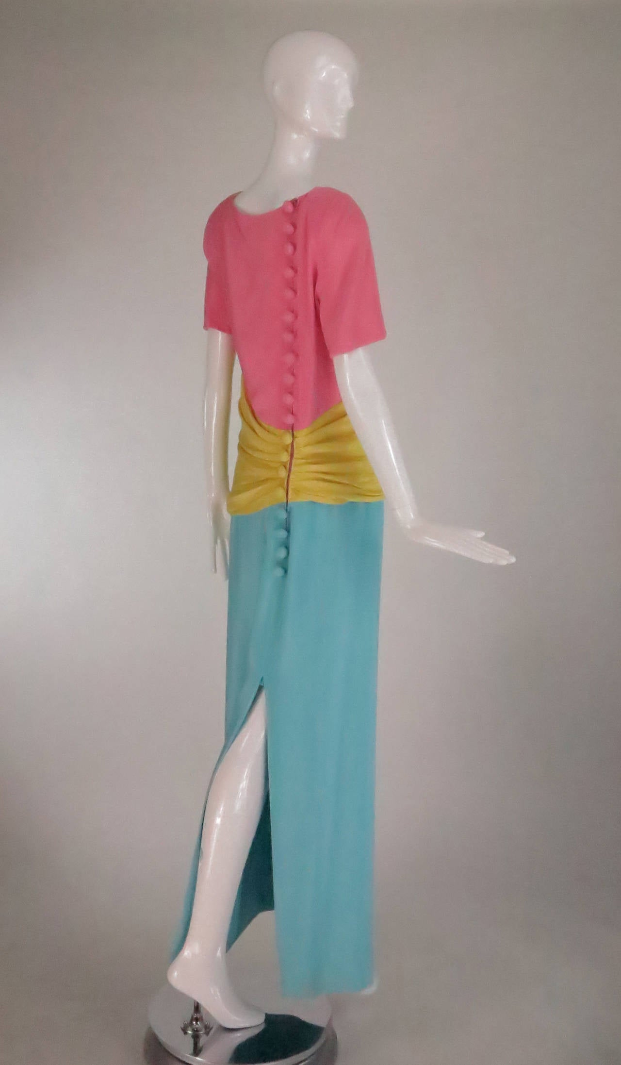 1980s Scaasi 40s inspired colour block gown 4