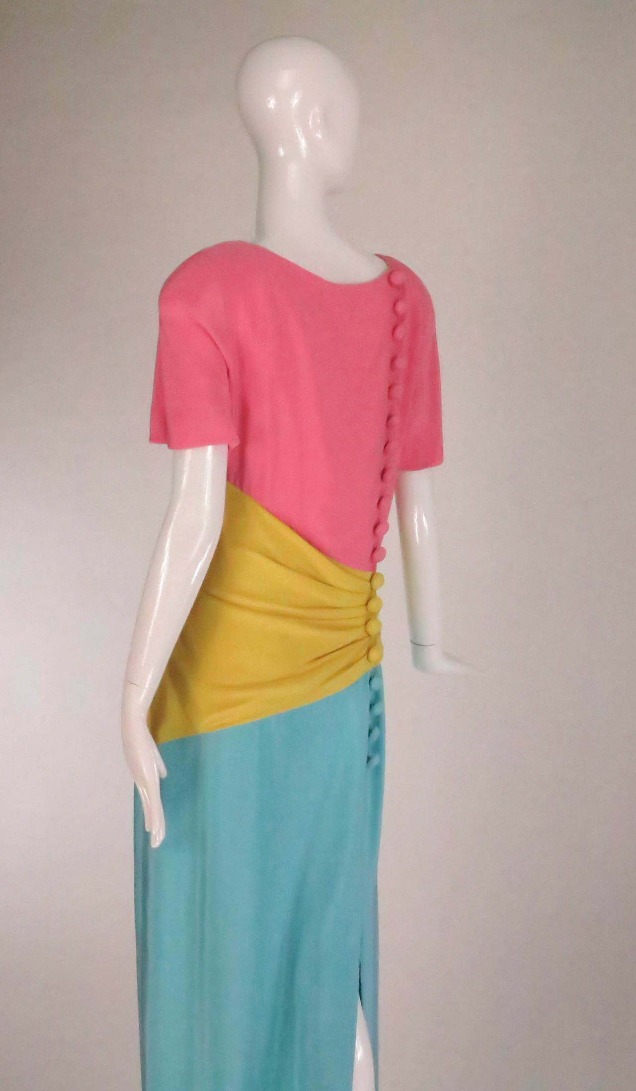 1980s Scaasi 40s inspired colour block gown For Sale 1