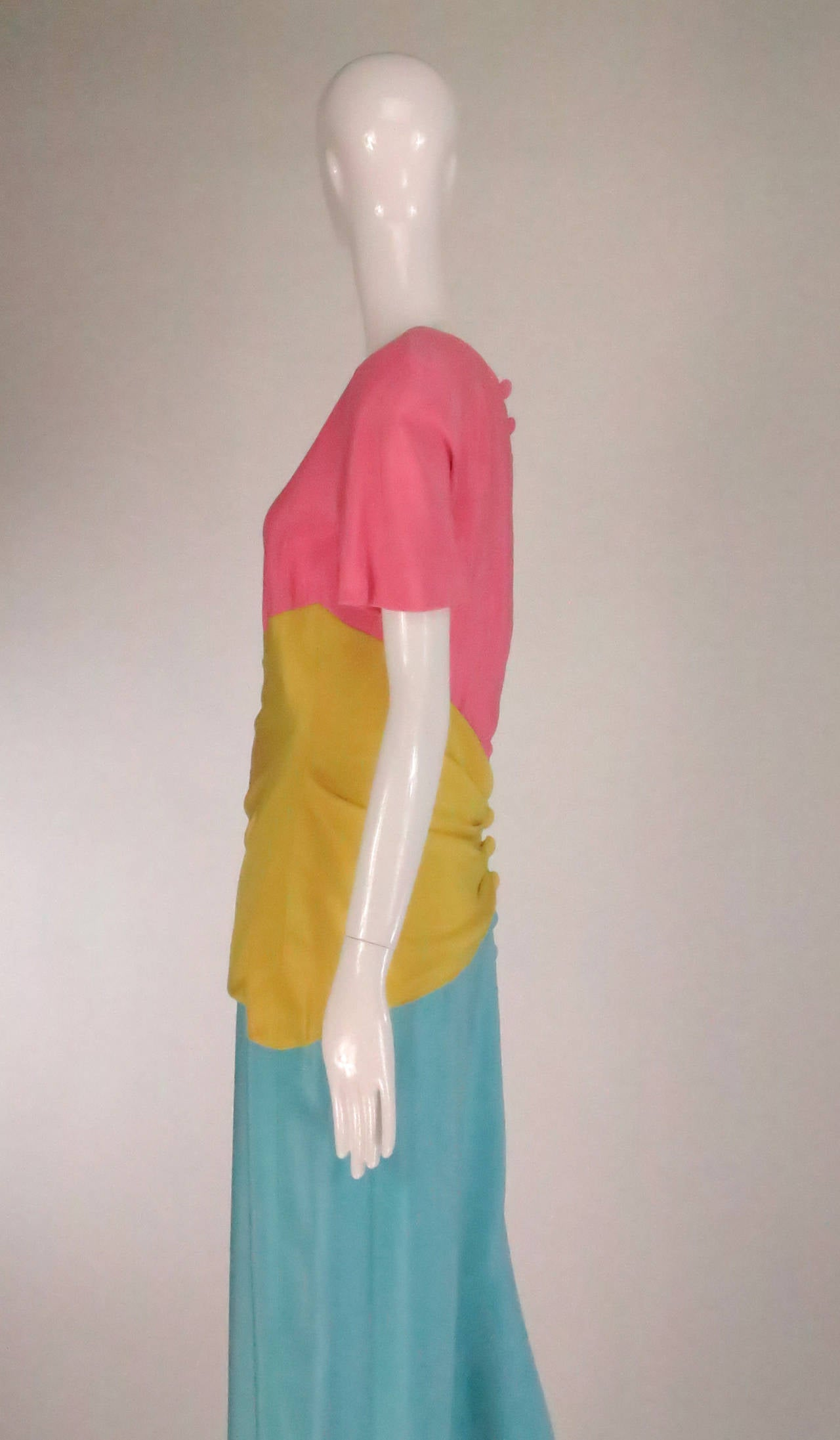1980s Scaasi 40s inspired colour block gown For Sale 2