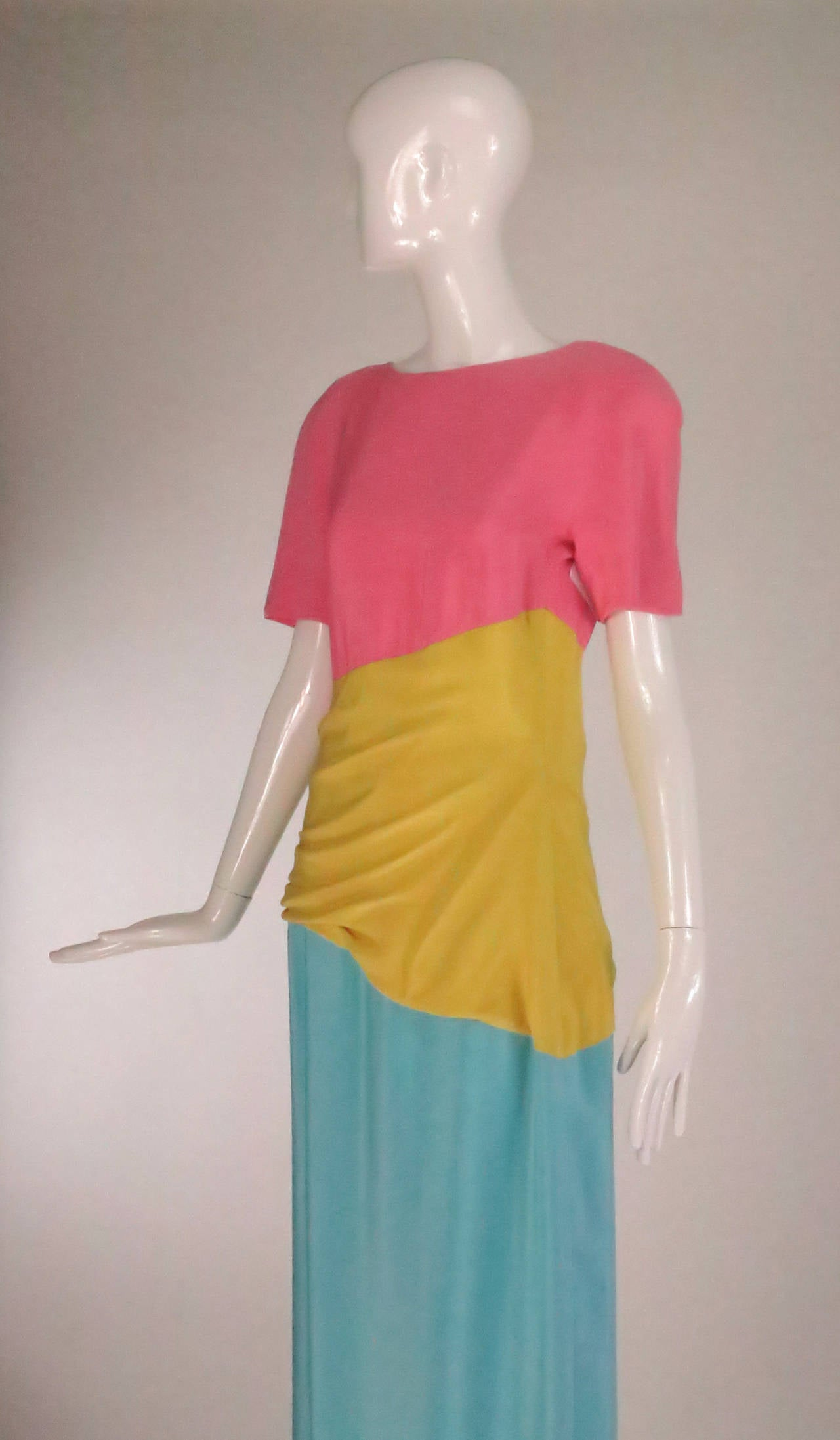 1980s Scaasi 40s inspired colour block gown For Sale 3