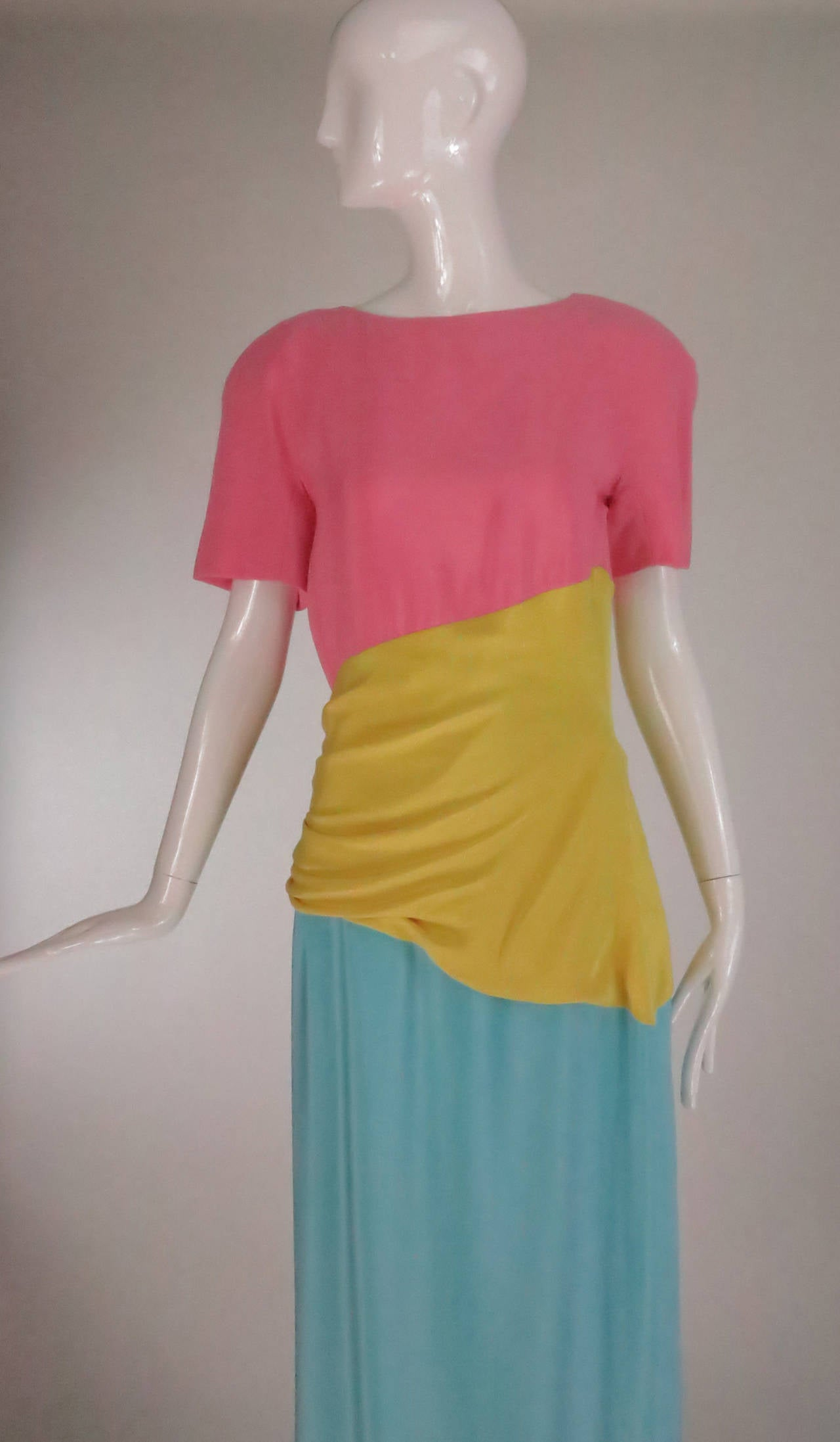 1980s Scaasi 40s inspired colour block gown For Sale 4