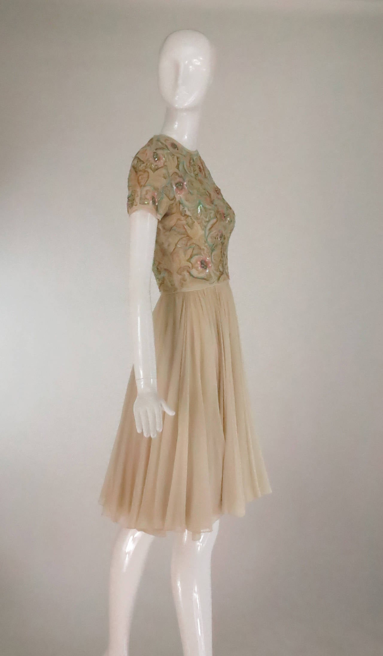 Brown 1960s beaded & applique silk chiffon cocktail dress For Sale