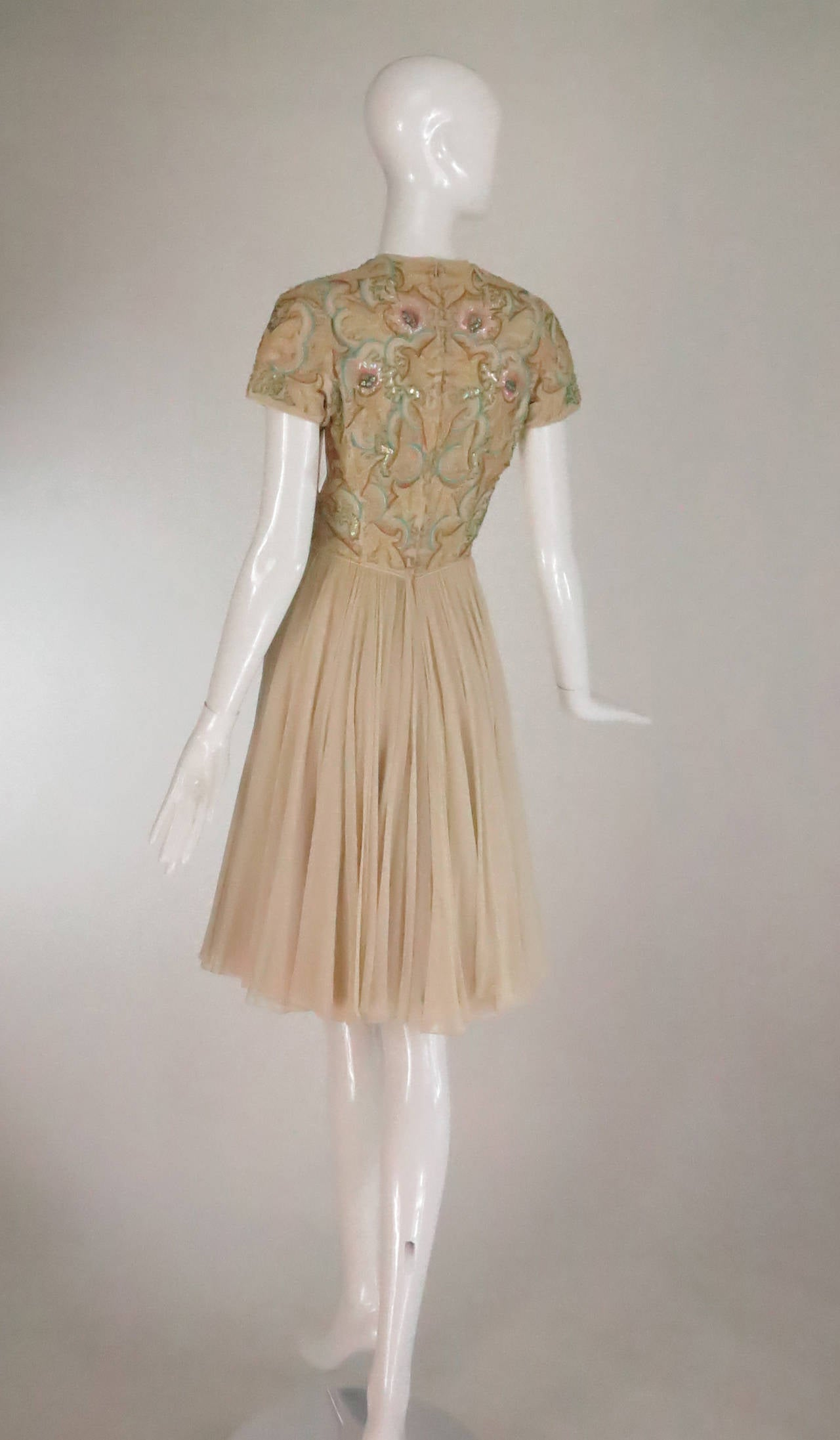 1960s beaded & applique silk chiffon cocktail dress For Sale 1