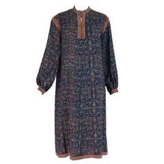 1970s Ungaro Parallele silk floral print on print tunic dress