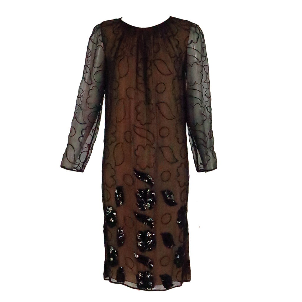 1970s Galanos embroidered, sequin chiffon cocktail dress