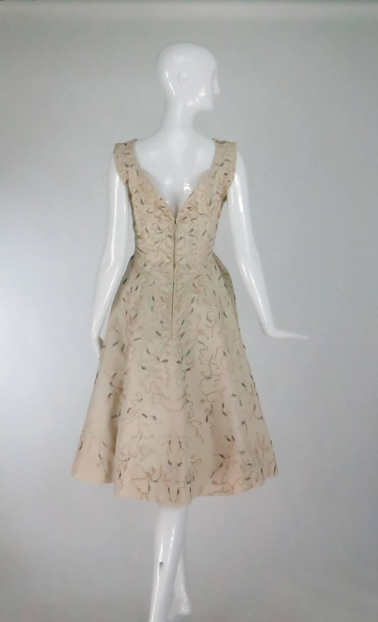 1950s hattie carnegie embroidered and beaded ivory silk