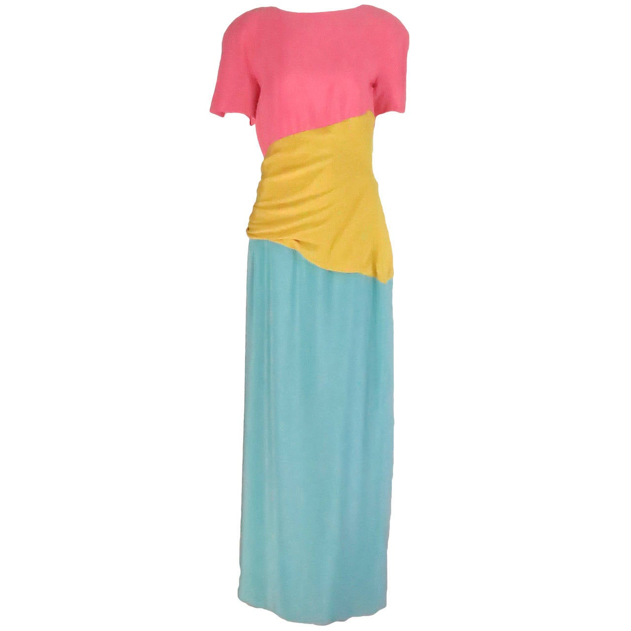 1980s Scaasi 40s inspired colour block gown 1