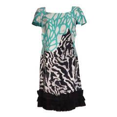 Paola Quadretti Firenze silk print afternoon dress