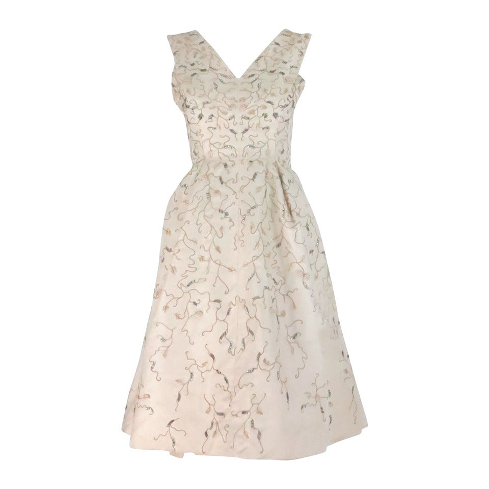 1950s Hattie Carnegie embroidered & beaded ivory silk cocktail dress