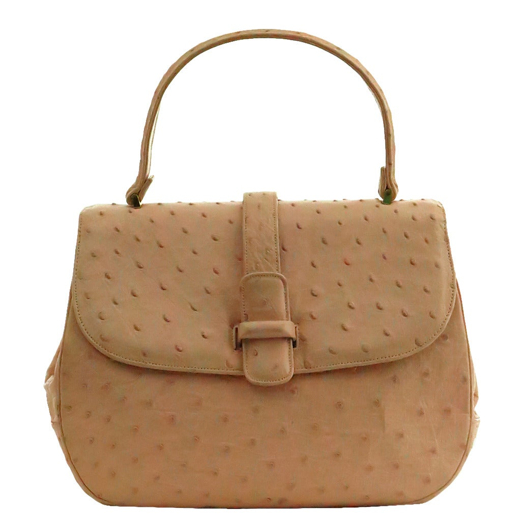 1960s Lucille de Paris pale pink ostrich leather handbag
