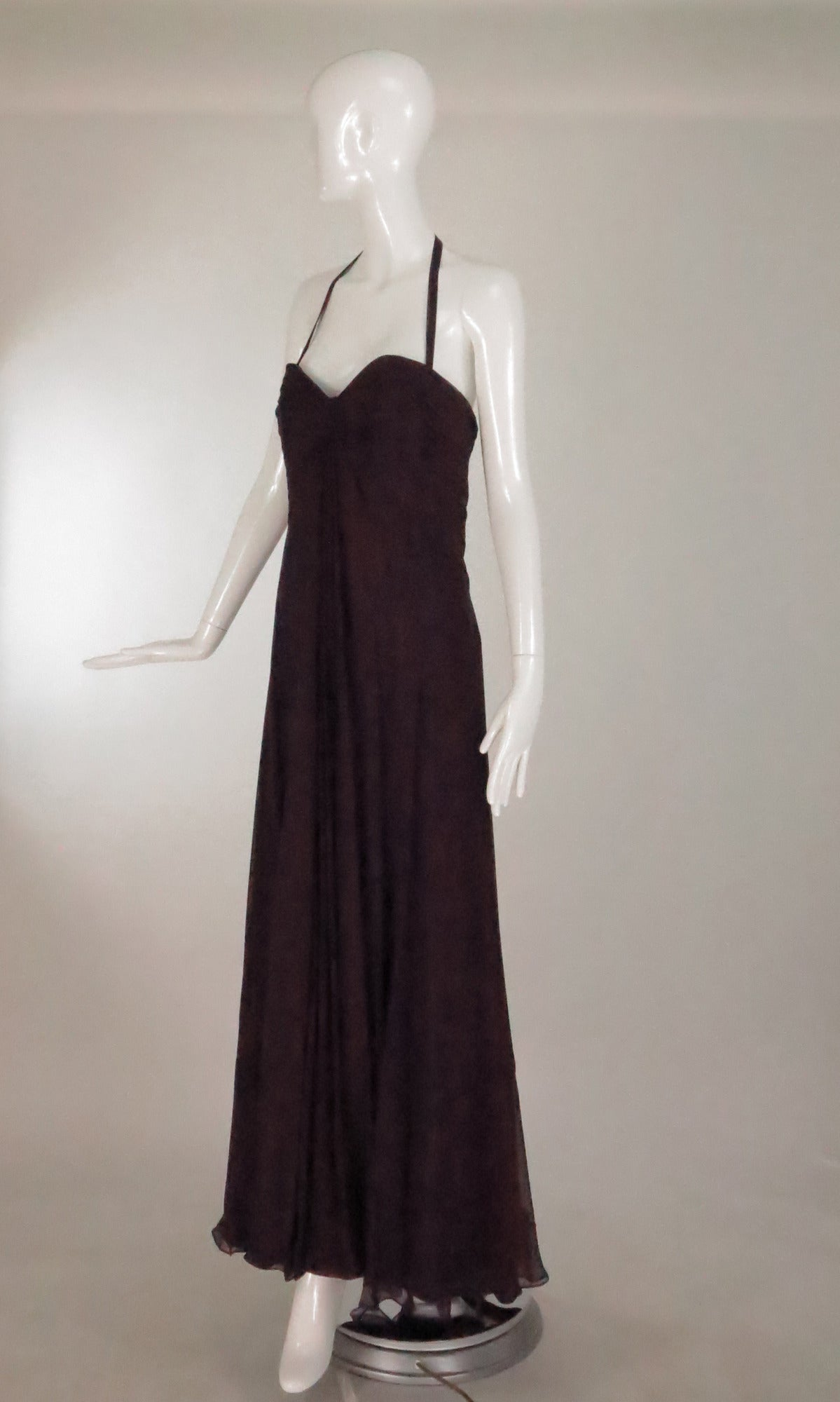 c0c6c7c1f4586 Black Pamela Roland halter neck garnet silk chiffon evening gown unworn For  Sale