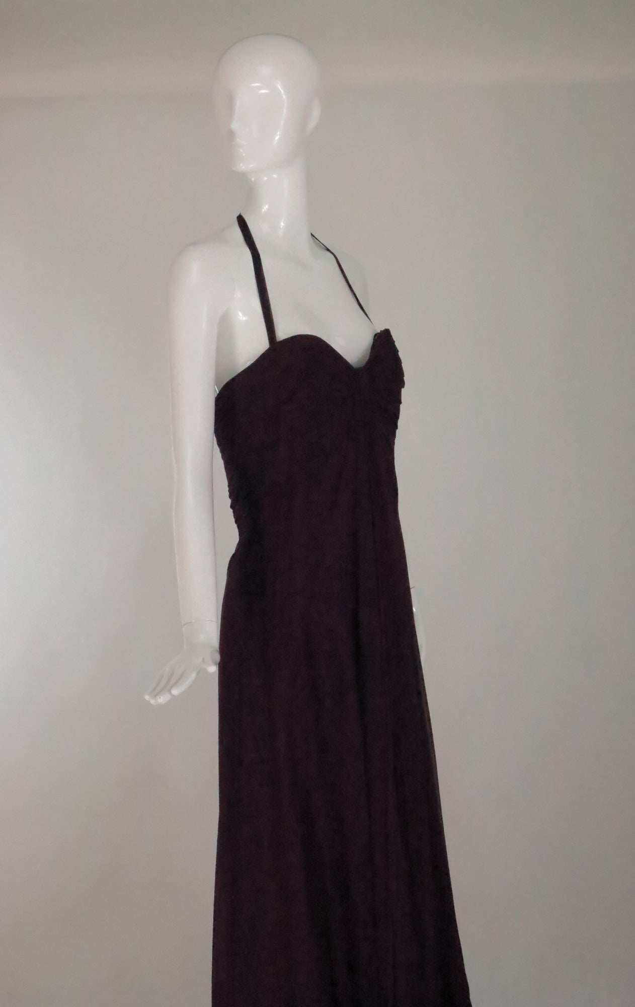 669c2d5684c90 Pamela Roland halter neck garnet silk chiffon evening gown unworn For Sale 2