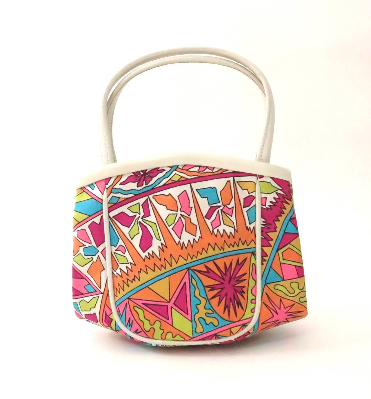 Vintage Pucci silk print & leather handbag In Excellent Condition For Sale In West Palm Beach, FL