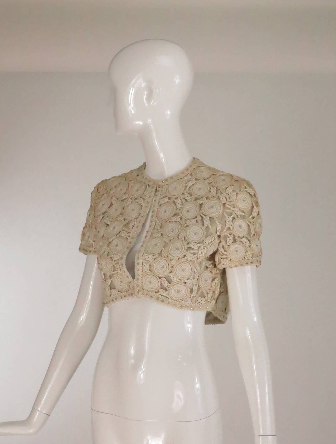 Rare Malcolm Starr corded cropped lace jacket 1960s 2