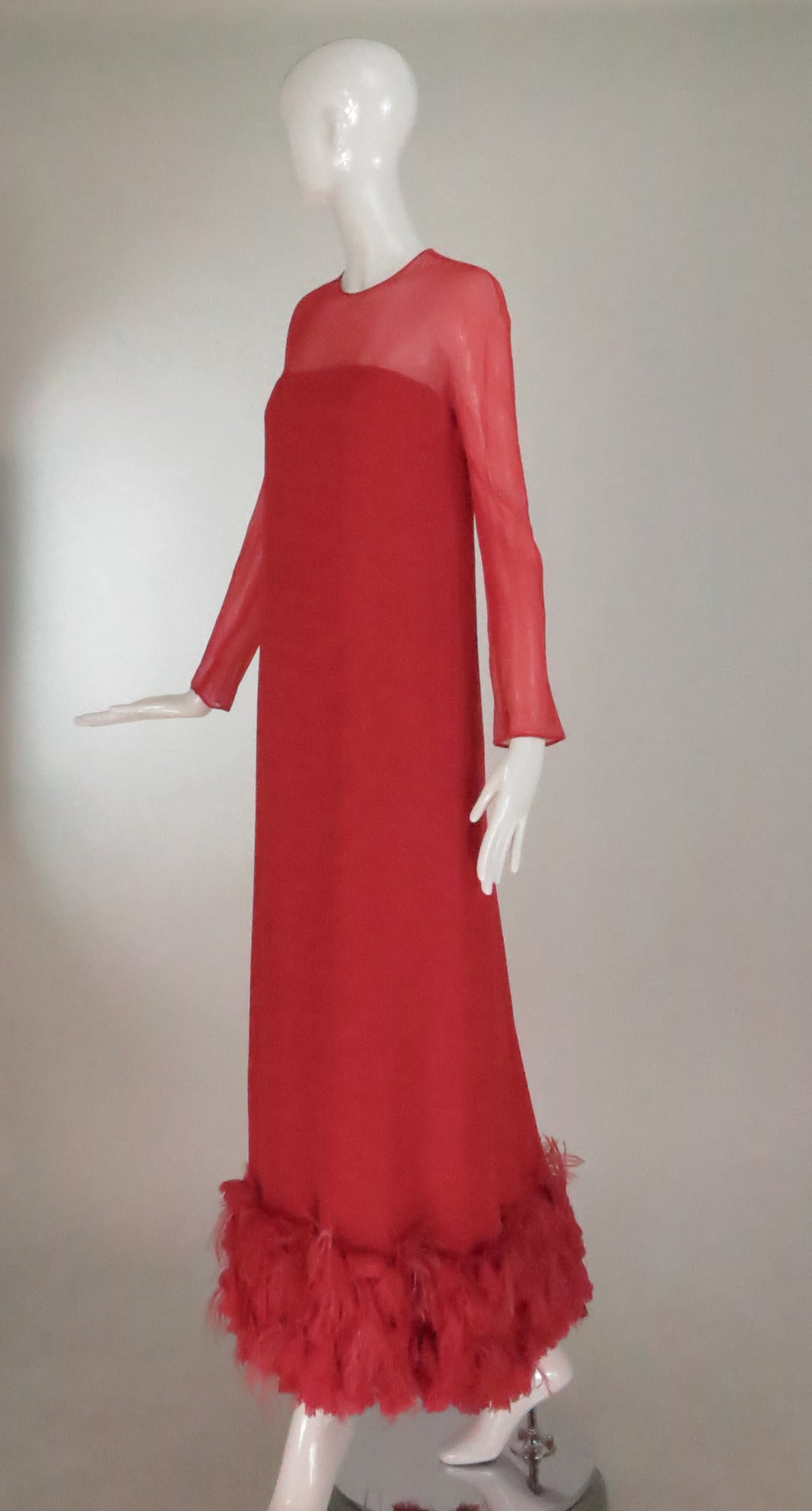 1960s Sarmi coral red silk chiffon gown For Sale at 1stdibs